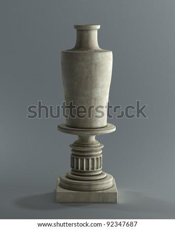 Decorative Stone Vase On A Podium High Resolution 3d Image Ez Canvas