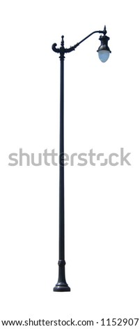 Decorative street light isolated on white background.  Includes clipping path.