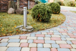 Decorative sturdy concrete tiles for walkways, patios and backyard parking - pavement for the lot outside the house - country house planning and architecture