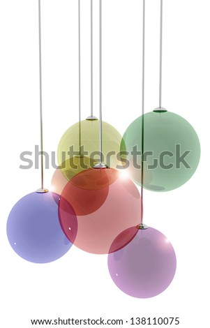 Decorative transparent spheres on white background