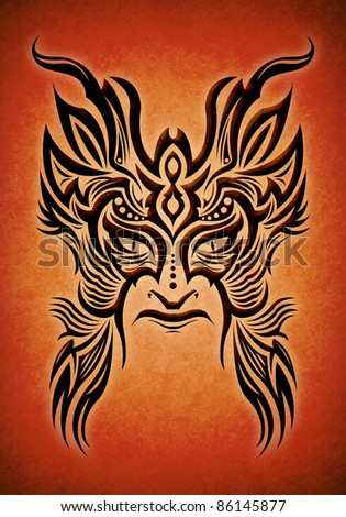 Decorative tribal mask Maya-aztec - stock photo