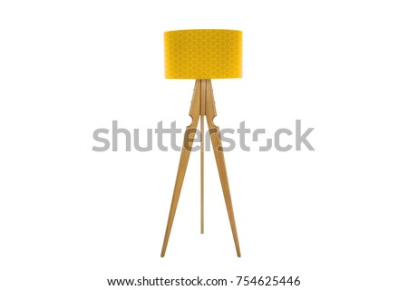 Decorative tripos standing light / FLOOR LAMP / LAMPSHADE isolated on white - Shutterstock ID 754625446