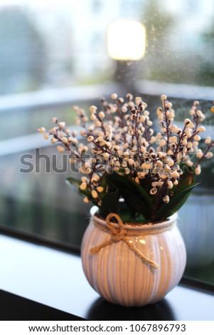 Decorative urns with decorative plants #1067896793
