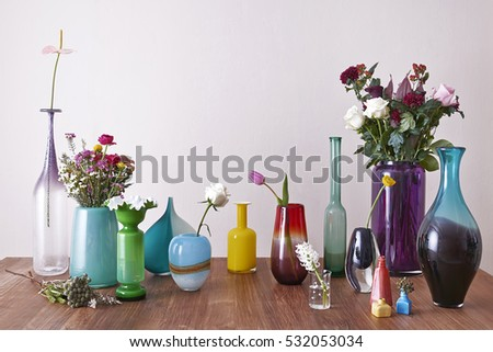 Free Photos Decorative Vases With Flowers On Wooden Shelf On White