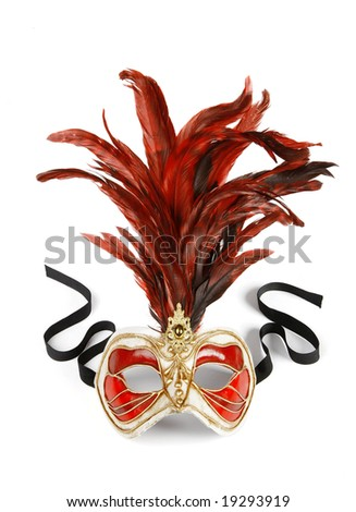 Decorative venetian carnival mask isolated on white background