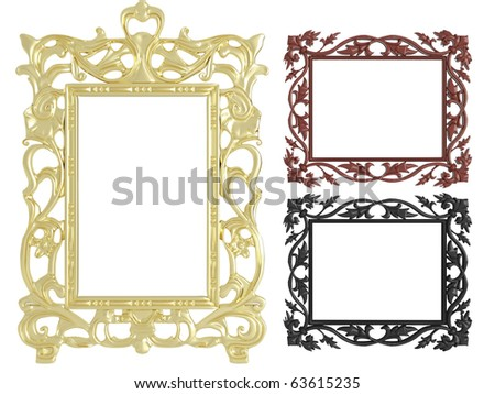 Decorative vintage and gold empty wall picture frames insert your own design, isolated, similar sets available in my portfolio