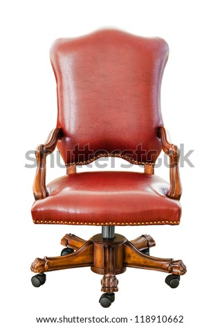 Decorative vintage style red leather chair , kind of furniture  isolated on white background