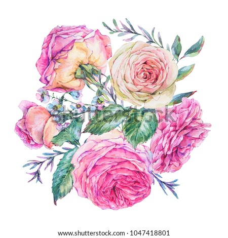 Decorative vintage watercolor pink english roses, Nature greeting card with flowers, leaf and buds, botanical floral illustration isolated on white background, round label