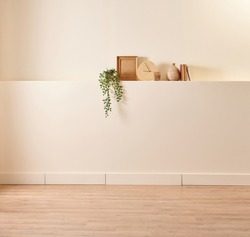 Decorative wall and background style, wooden chair and book style, vase of plant and home.