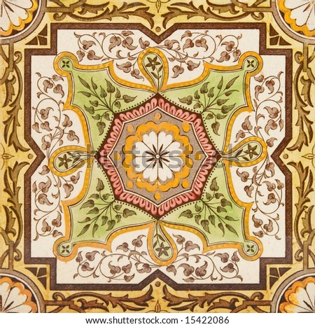 decorative wall tile from the late victorian period c1880