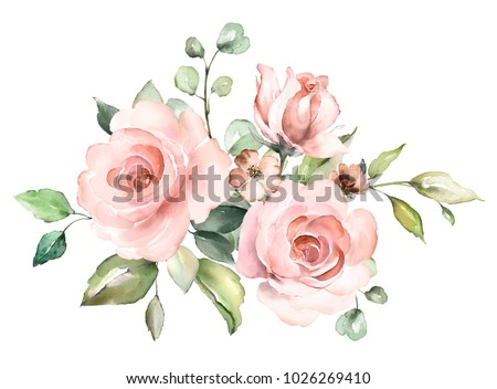 decorative watercolor flowers. floral illustration, Leaf and buds. Botanic composition for wedding or greeting card.  branch of flowers - abstraction roses, romantic stock photo