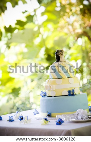 stock photo decorative wedding cake sitting outside on table leaves behind