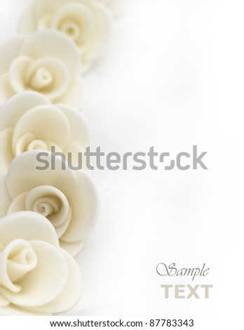 decorative white roses with the place for the text