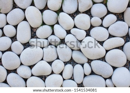 decorative white stones , round white stones on white background , Stones or Gravel for building, floor or wall. Seamless Texture. pebbles on a white  naturally polished rock pebbles background