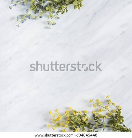Decorative wild flower branches on Carrara Marble counter top, top view