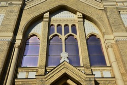 Decorative window above main entrance of Jewish synagogue in Nitra. Build during years 1908 and 1911, it is a melange of Moorish, Byzantine and Art Nouveau architercutral elements, Baumhorn style.