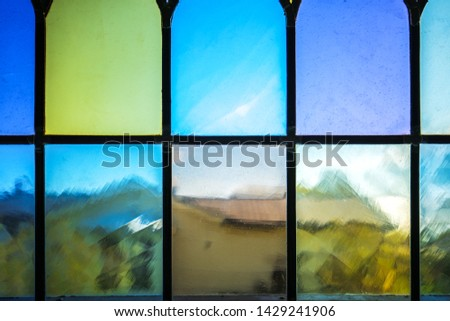 Decorative window with various colored rectangles stained glass #1429241906
