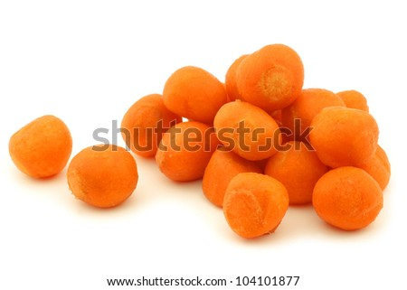 decorative winter carrots balls on a white background