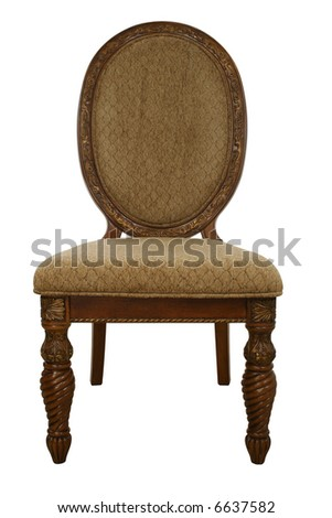 Decorative wood and fabric dressing chair over white with clipping path.
