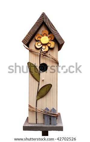 decorative wooden birdhouse (isolated)