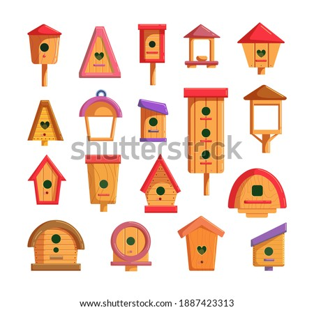 Decorative wooden birdhouse set for feeding and living bird. Outside handcraft hanging nesting box, birdie house construction on pillar different shape illustration isolated on white background Foto stock ©