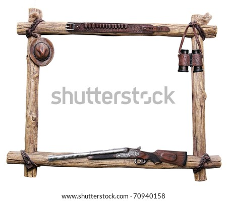 decorative wooden frame with accessories for hunter