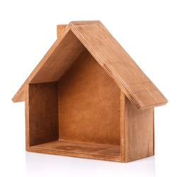 Decorative wooden house with no front wall on a white background