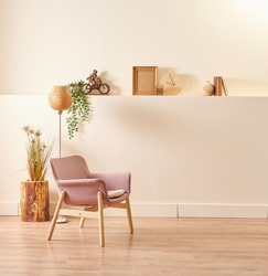 Decorative wooden table and chair furniture design, home object vase of plant and lamp.