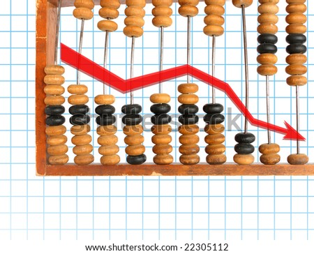 decrease diagram on old wooden abacus