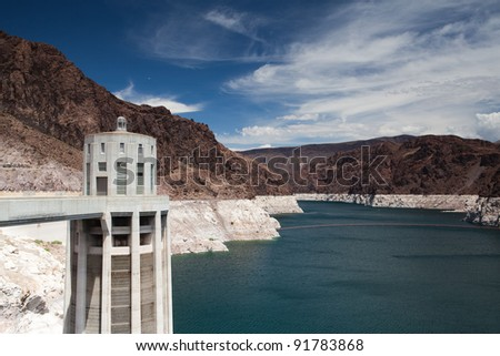 Decreased water level in Black Canyon of Colorado river near Hoover Dam