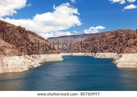 Decreased water level in Black Canyon of Colorado river near Hoover Dam, upstream view