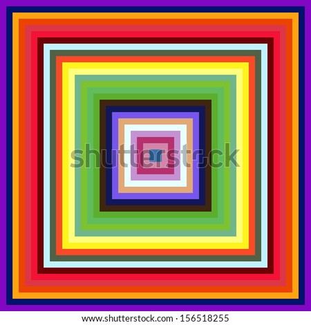 Decreasing size colorful square frames abstract background.