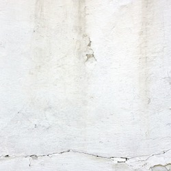 Decrepit White Peeled Plaster Wall With Cracked Structure Frame Blank Grunge Background. Dark Brick Mortar Old Wall With Shabby Stucco Isolated Square Texture. Renovation Concept. Blank Wreck Surface