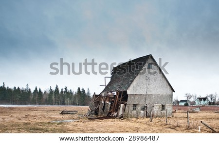 Decrepit wooden farm house in rural New Brunswick, Canada.
