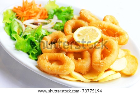 Deep batter fried squid rings calamari with green salad on white plate