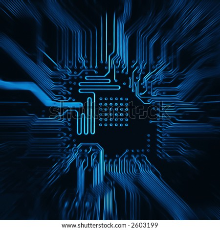 deep blu background with motherboard's electronic circuit