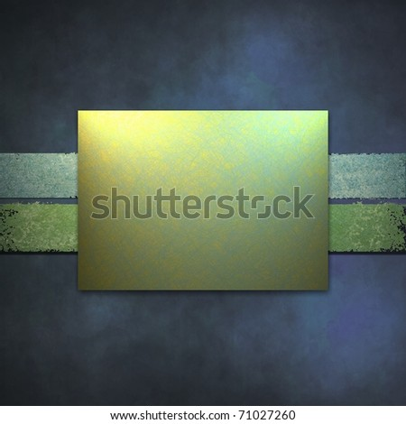 deep blue background or cover with soft lighting, faded grunge texture, and copy space layout box in light green and yellow colors for adding your own text, title, or image