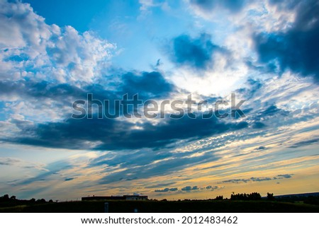 deep blue cloudy threatening sky Foto stock ©