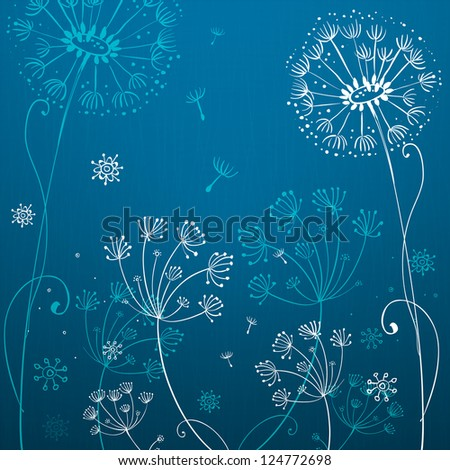 Deep blue dandelion flowers background. Vector version also exist.