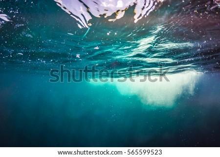 Deep blue sea background design, website template and horizontal banner.