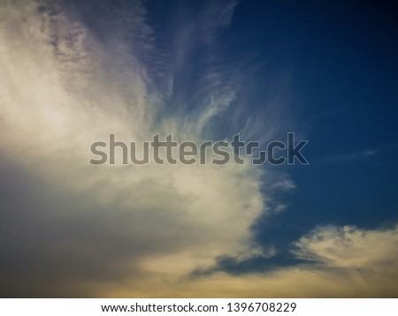 Deep blue sky and white cloud background.Beautiful sky of cirrus clouds. #1396708229