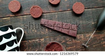 Deep brown chocolate bar and cookies #1216369579
