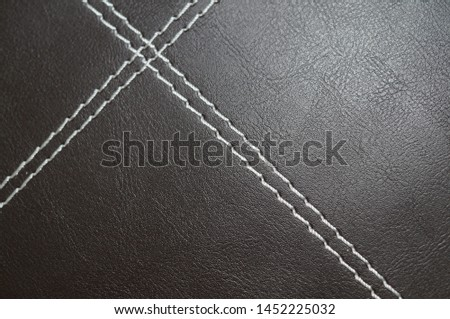 Deep Brown Leather with White Suture 1 #1452225032