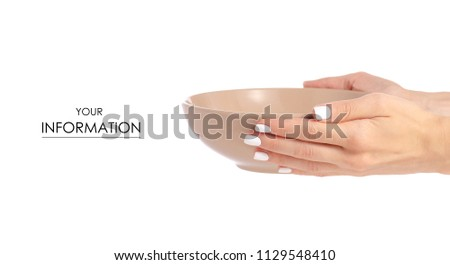 Deep brown soup plate in hand pattern on white background isolation #1129548410