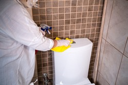 Deep cleaning for Covid-19 (corona  virüs) disease prevention. For safety, spray alcohol, disinfectant on the cleaning cloth wipes in places that are frequently touched at the hotel.
