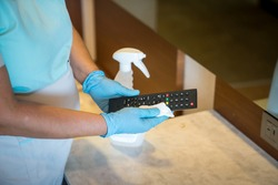 Deep cleaning for Covid-19 (Corona virus, Pandemic) disease prevention. For safety, spray alcohol, disinfectant on the cleaning cloth wipes in places that are frequently touched at the hotel.