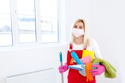 Deep cleaning for Covid-19 disease prevention. alcohol, disinfectant spray in home for safety, infection of Covid-19 virus. cleaning woman