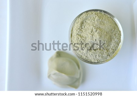 Deep cleansing cosmetic bentonite (montmorillonite) clay for beauty spa face mask, body detox and hair treatments.