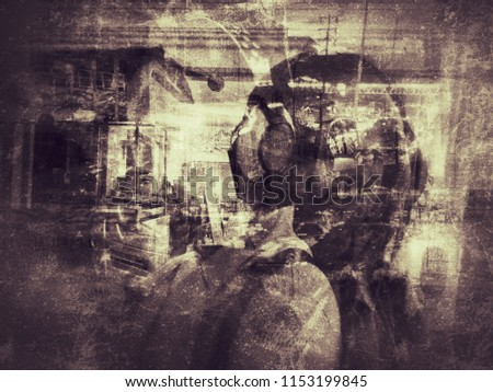 deep conceptual grungy abstract image with overlap multi exposure effect use for background backdrop #1153199845