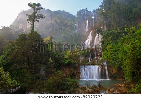 Deep Forest beautiful waterfall at Thi Lo Su, Tak, Thailand